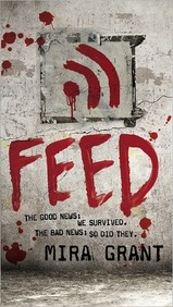 The cover of Feed is gray with the title, the RSS feed icon, and spatters all in red blood. The rest of the text is written in computer text.