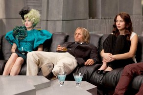 Effie, Haymitch, and Katniss