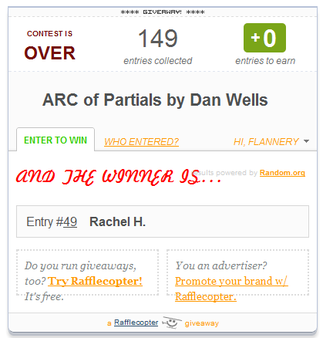 Partials ARC Giveaway Winner