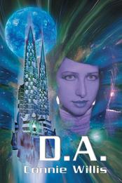 The cover for DA features a realistic photo of a futuristic girl. She is next to a graphic depiction of a rocketship and a moon and the entire cover looks like it is part of a multicolored nebula.