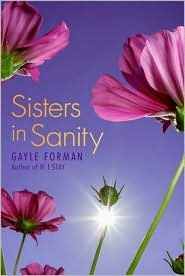 The cover of Sisters in Sanity is a bluish color. There are several purple flowers and the photo is taken from a perspective that is