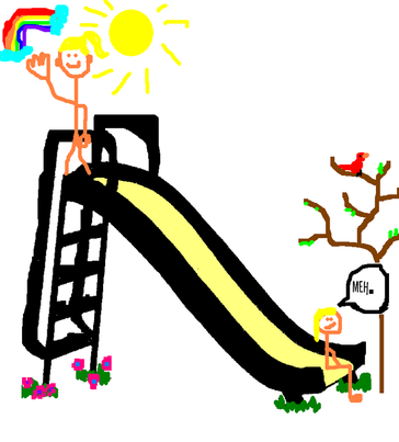 An image of a smiling happy me at the top of a slide with the sun shining and a rainbow. At the bottom of the slide is me sayin