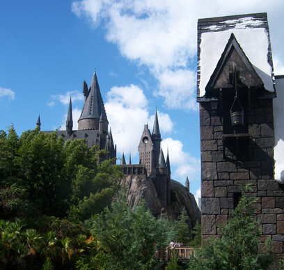 Three Broomsticks view of Hogwarts