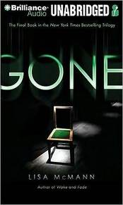The cover for Gone. The book cover features the title in uppercase letters that seem to be floating in a pitch black room. Light shines on one solitary and empty chair