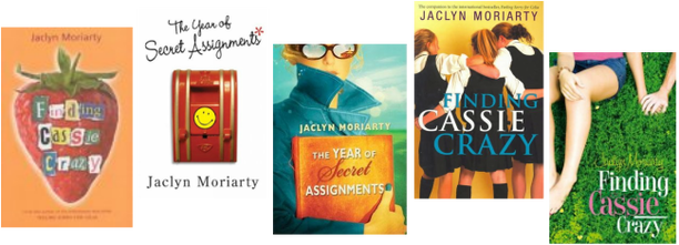 An array of the various covers for Finding Cassie Crazy, which is also known as The Year of Secret Assignments. One has an orange background witha strawberry on it. Another has a white background with playful text and a fire alrarm. The remaining three have young women either alone or with a few other girls.