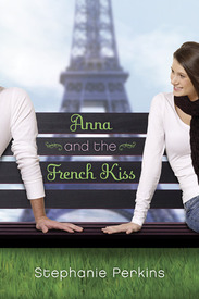 The cover of Anna and the French Kiss features a teenage girl and guy on a park bench. The Eiffel Tower is in the background with the title to the book on the bench in between them.