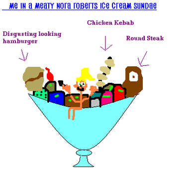 Totally awesome MSPaint picture of a mini-me in a sundae bowl mixed with ice cream scoops and various meat products.