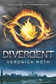 The cover for Divergent has a city skyline along the bottom, a background of smoky clouds, and the top portion features a fiery eye-like circle within a circle.