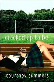The cover of Cracked Up To Be has a teenage girl in a Catholic schoolgirl outfit laying down on a bench. Her head is not shown and there is a notebook resting on her stomach. In the background, there is a school soccer field with two empty goals and very green grass. Both the title and the author byline are in lower case script.